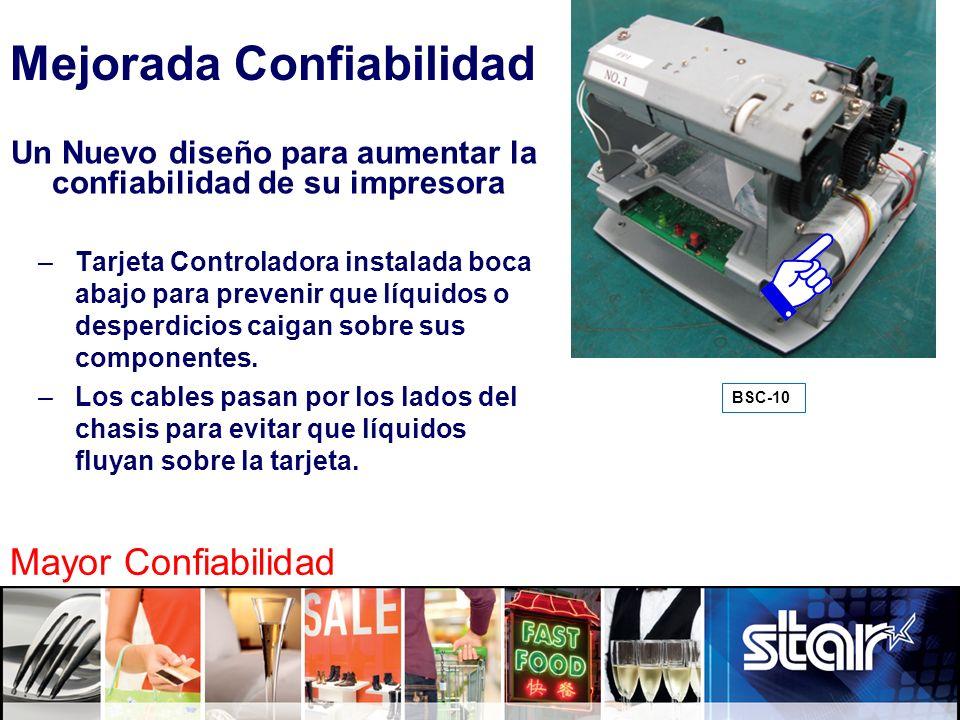 11 BSC-10 Mejorada Confiabilidad Mayor Confiabilidad Un Nuevo diseño para aumentar la confiabilidad de su impresora –Tarjeta Controladora instalada bo