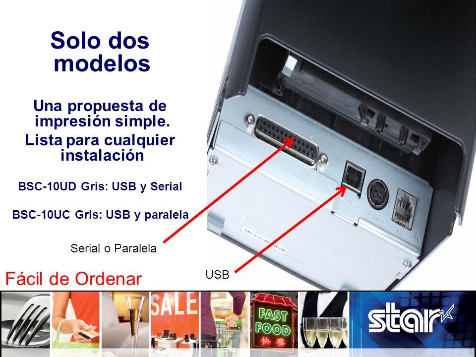 Solo dos modelos Una propuesta de impresión simple. Lista para cualquier instalación BSC-10UD Gris: USB y Serial BSC-10UC Gris: USB y paralela USB Ser