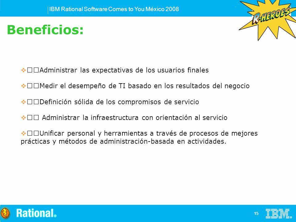 IBM Rational Software Comes to You México 2008 15 Administrar las expectativas de los usuarios finales Medir el desempeño de TI basado en los resultados del negocio Definición sólida de los compromisos de servicio Administrar la infraestructura con orientación al servicio Unificar personal y herramientas a través de procesos de mejores prácticas y métodos de administración-basada en actividades.