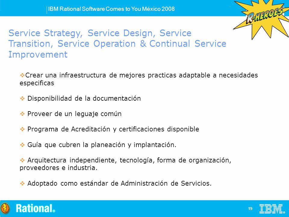 IBM Rational Software Comes to You México 2008 19 Service Strategy, Service Design, Service Transition, Service Operation & Continual Service Improvement Crear una infraestructura de mejores practicas adaptable a necesidades especificas Disponibilidad de la documentación Proveer de un leguaje común Programa de Acreditación y certificaciones disponible Guía que cubren la planeación y implantación.