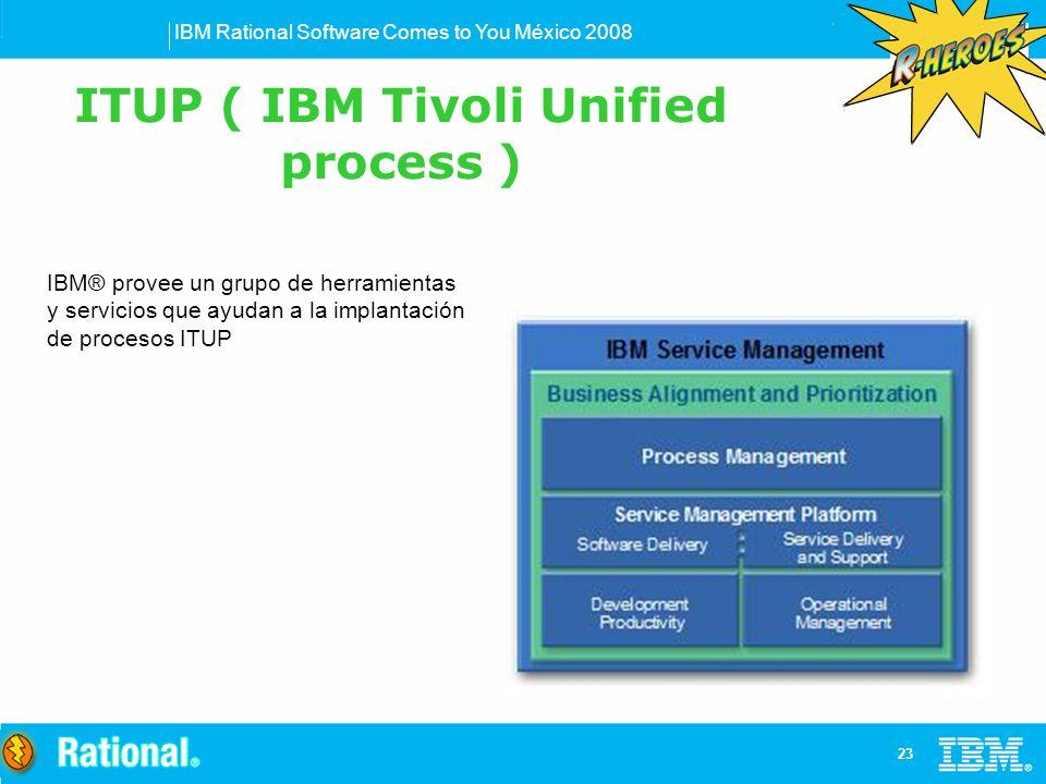 IBM Rational Software Comes to You México 2008 23 IBM® provee un grupo de herramientas y servicios que ayudan a la implantación de procesos ITUP ITUP ( IBM Tivoli Unified process )