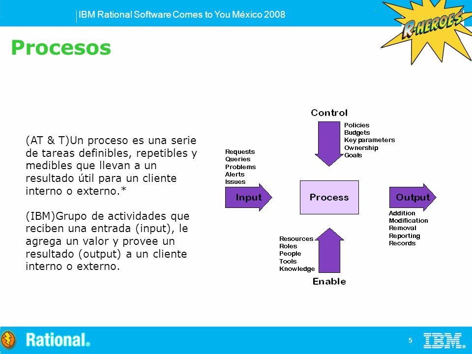 IBM Rational Software Comes to You México 2008 5 (AT & T)Un proceso es una serie de tareas definibles, repetibles y medibles que llevan a un resultado útil para un cliente interno o externo.* (IBM)Grupo de actividades que reciben una entrada (input), le agrega un valor y provee un resultado (output) a un cliente interno o externo.