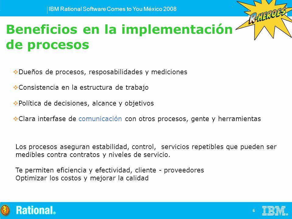 IBM Rational Software Comes to You México 2008 6 Dueños de procesos, resposabilidades y mediciones Consistencia en la estructura de trabajo Política d