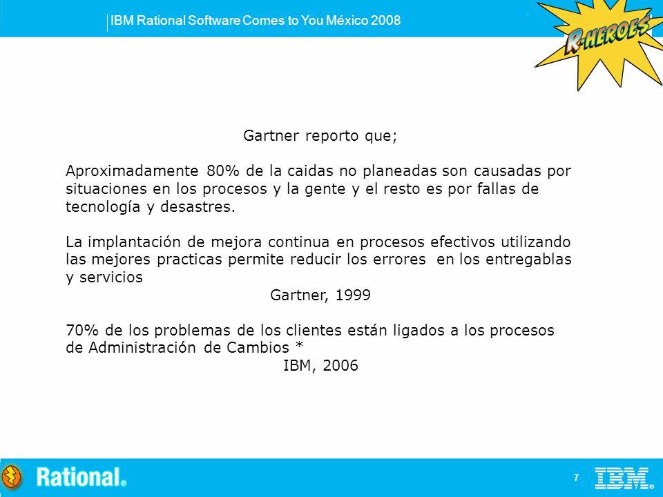IBM Rational Software Comes to You México 2008 7 Gartner reporto que; Aproximadamente 80% de la caidas no planeadas son causadas por situaciones en los procesos y la gente y el resto es por fallas de tecnología y desastres.