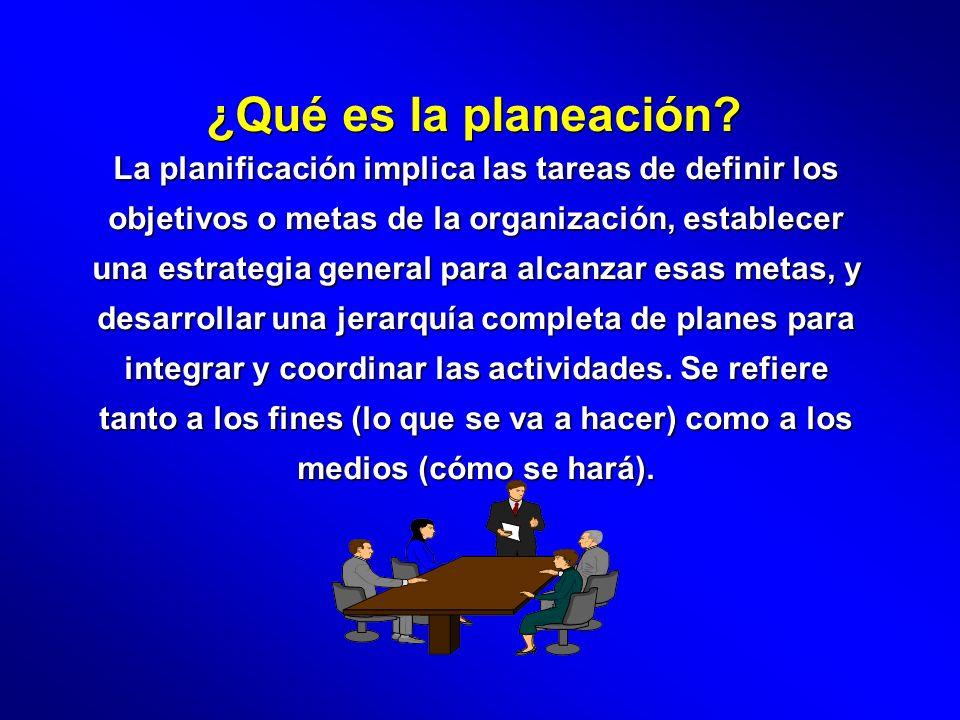 ¿Qué es la planeación? La planificación implica las tareas de definir los objetivos o metas de la organización, establecer una estrategia general para