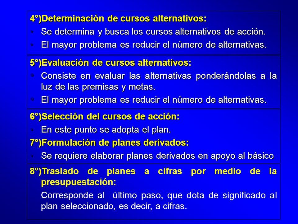 4°)Determinación de cursos alternativos: Se determina y busca los cursos alternativos de acción.Se determina y busca los cursos alternativos de acción