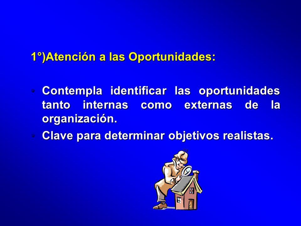 1°)Atención a las Oportunidades: Contempla identificar las oportunidades tanto internas como externas de la organización.Contempla identificar las opo