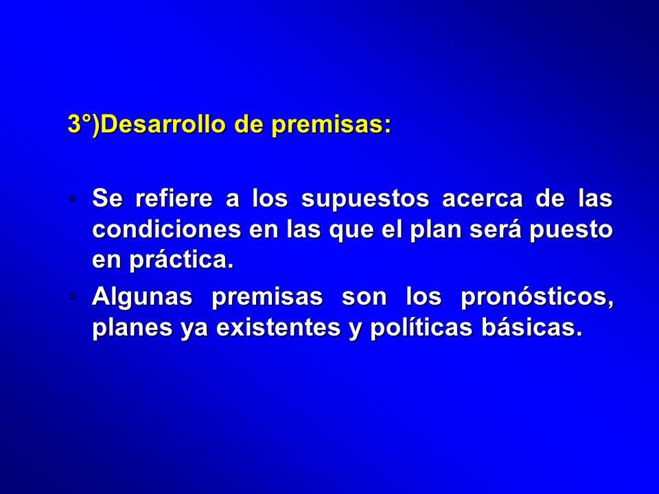 3°)Desarrollo de premisas: Se refiere a los supuestos acerca de las condiciones en las que el plan será puesto en práctica.Se refiere a los supuestos