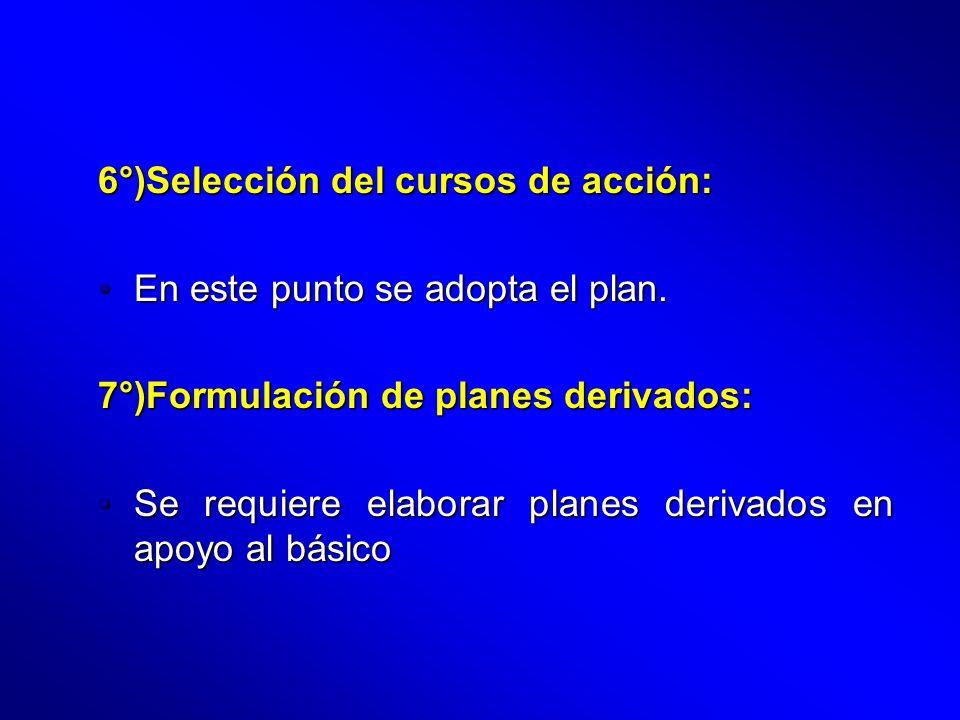 6°)Selección del cursos de acción: En este punto se adopta el plan.En este punto se adopta el plan. 7°)Formulación de planes derivados: Se requiere el