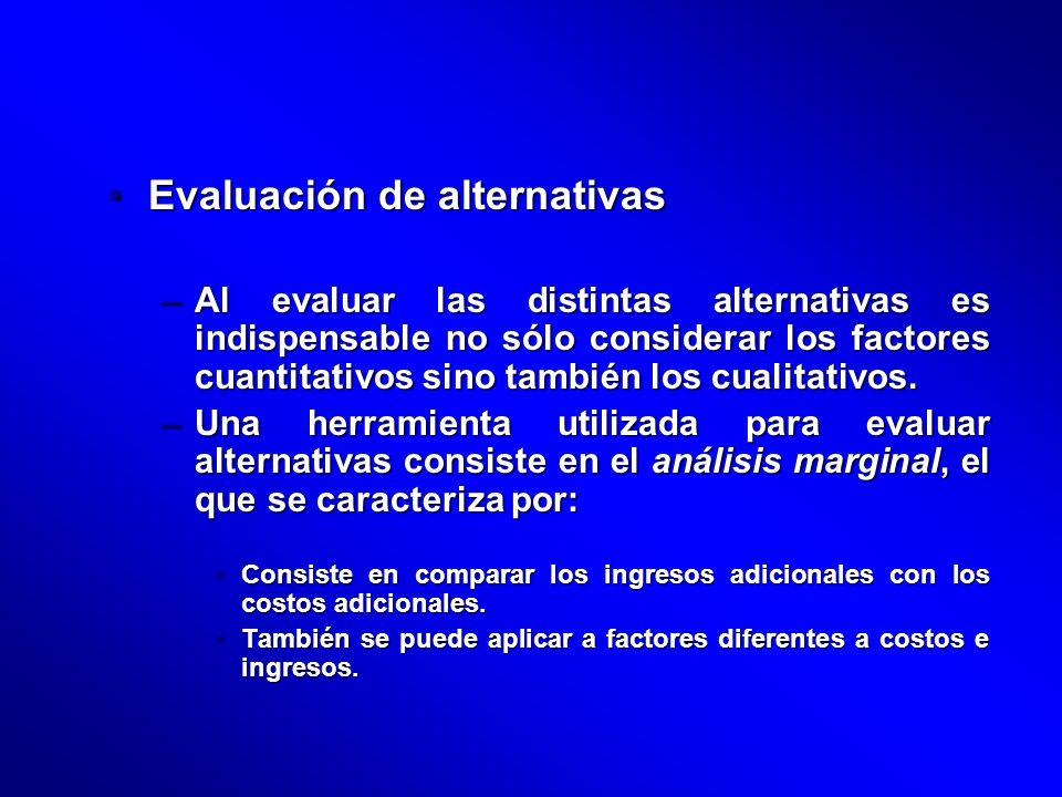Evaluación de alternativasEvaluación de alternativas –Al evaluar las distintas alternativas es indispensable no sólo considerar los factores cuantitat