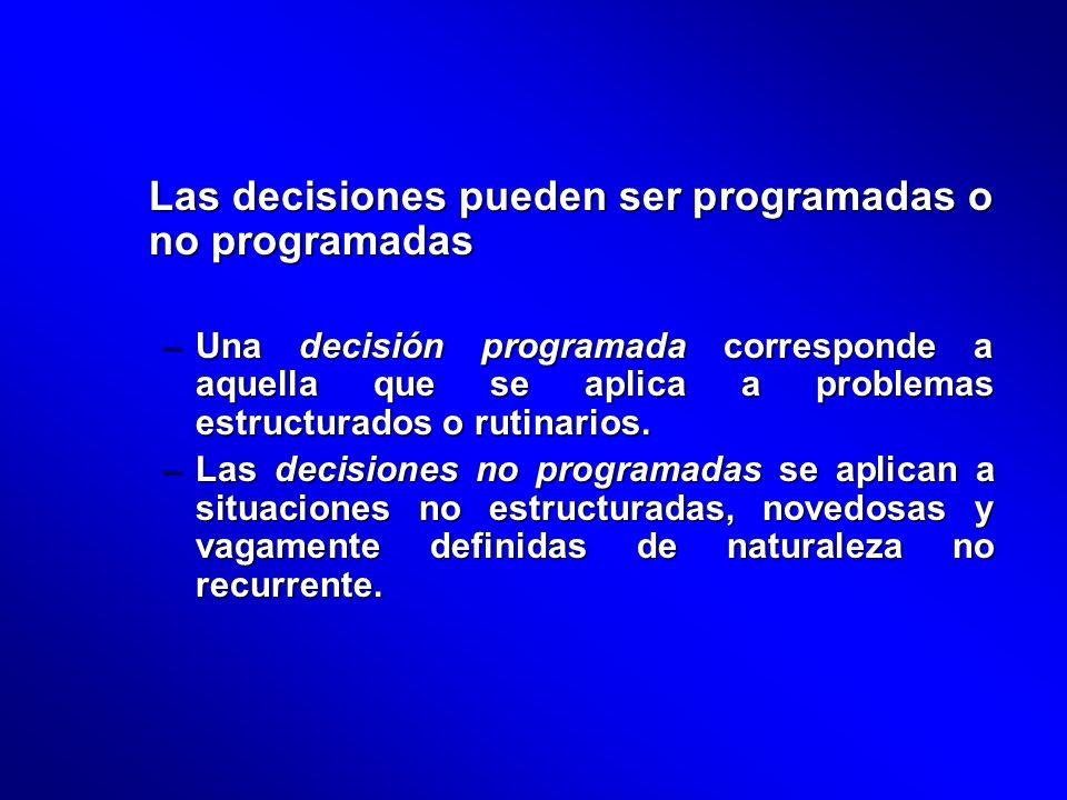 Las decisiones pueden ser programadas o no programadas –Una decisión programada corresponde a aquella que se aplica a problemas estructurados o rutina