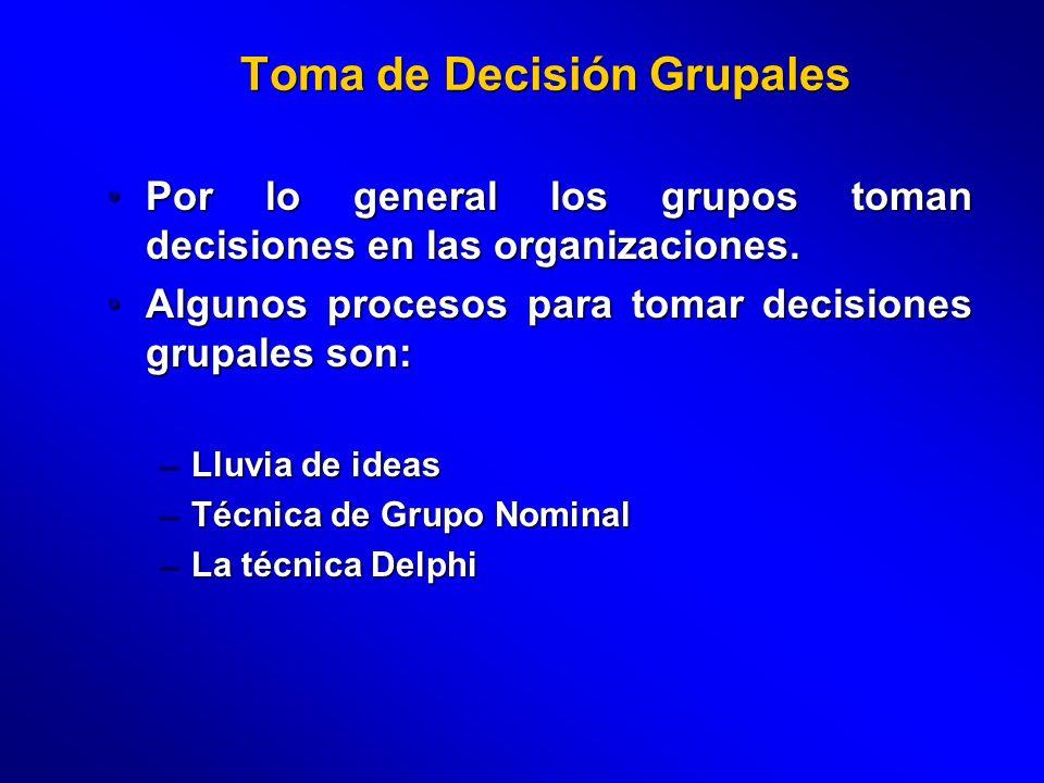 Toma de Decisión Grupales Por lo general los grupos toman decisiones en las organizaciones.Por lo general los grupos toman decisiones en las organizac