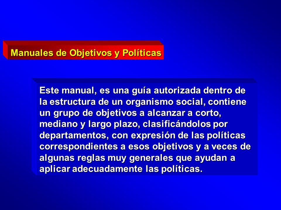 Este manual, es una guía autorizada dentro de la estructura de un organismo social, contiene un grupo de objetivos a alcanzar a corto, mediano y largo