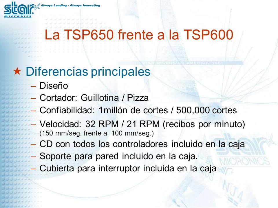 La TSP650 frente a la TSP600 Diferencias principales –Diseño –Cortador: Guillotina / Pizza –Confiabilidad: 1millón de cortes / 500,000 cortes –Velocidad: 32 RPM / 21 RPM (recibos por minuto) (150 mm/seg.