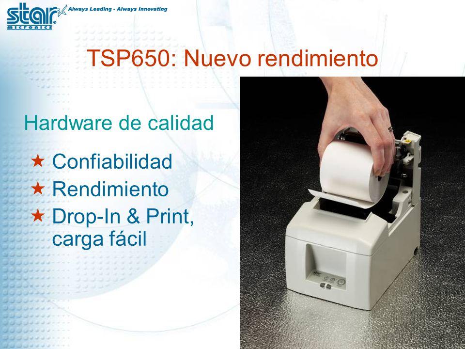 TSP650: Nuevo rendimiento Hardware de calidad Confiabilidad Rendimiento Drop-In & Print, carga fácil