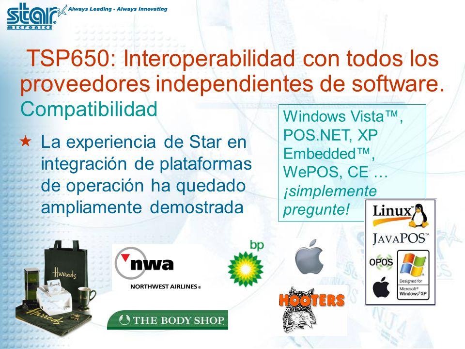 TSP650: Interoperabilidad con todos los proveedores independientes de software.