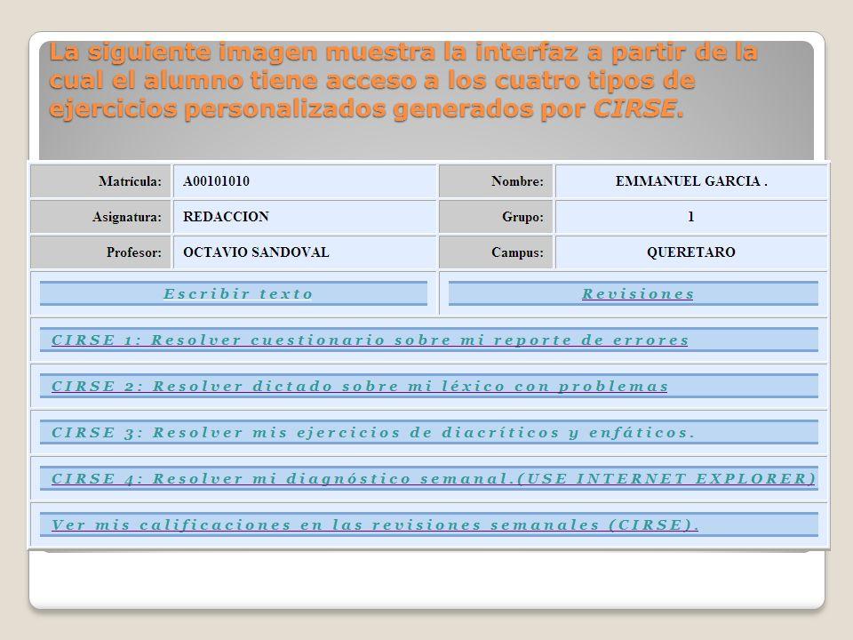 La siguiente imagen muestra la interfaz a partir de la cual el alumno tiene acceso a los cuatro tipos de ejercicios personalizados generados por CIRSE