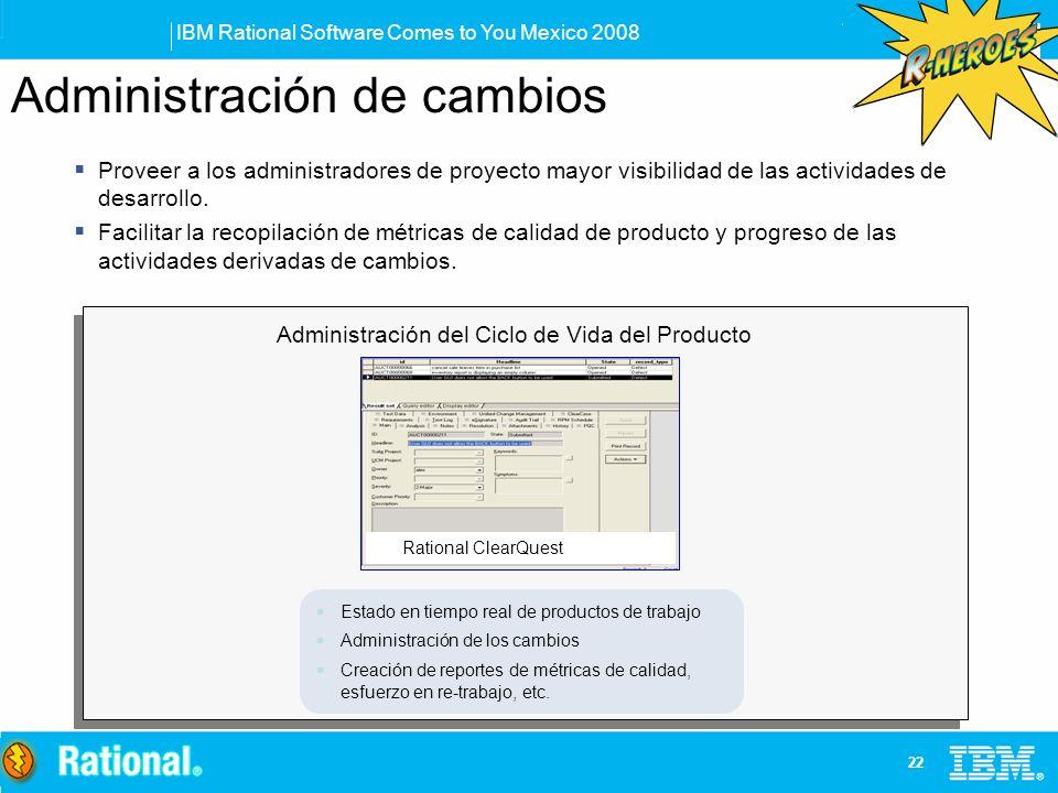 IBM Rational Software Comes to You Mexico 2008 22 Proveer a los administradores de proyecto mayor visibilidad de las actividades de desarrollo. Facili