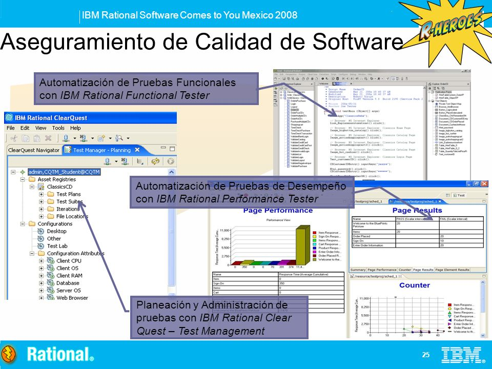 IBM Rational Software Comes to You Mexico 2008 25 Aseguramiento de Calidad de Software Automatización de Pruebas Funcionales con IBM Rational Function
