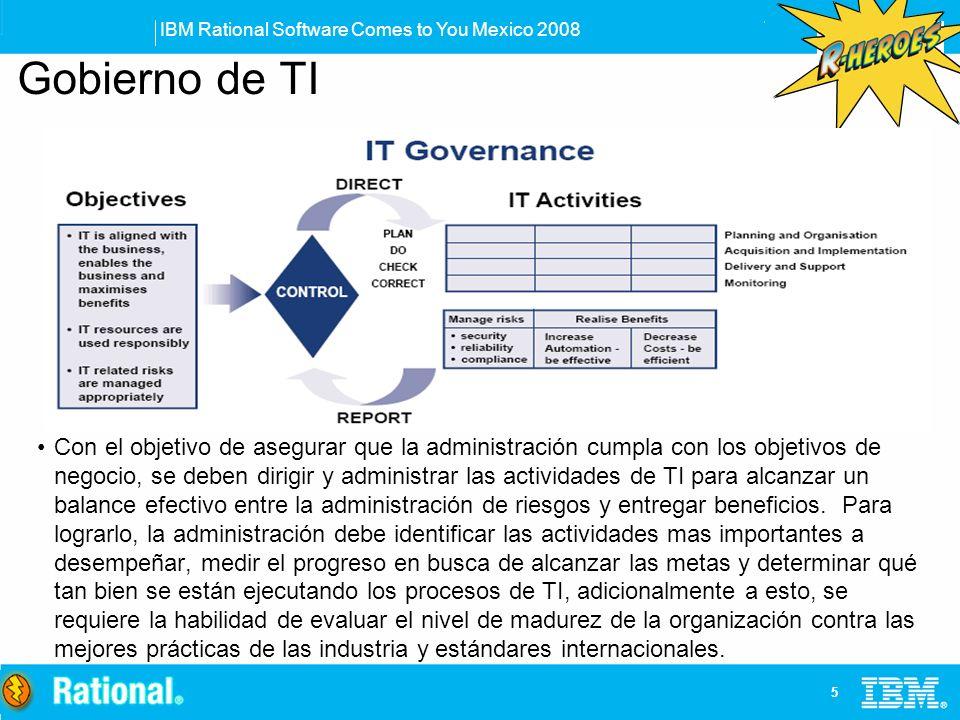 IBM Rational Software Comes to You Mexico 2008 5 Con el objetivo de asegurar que la administración cumpla con los objetivos de negocio, se deben dirig