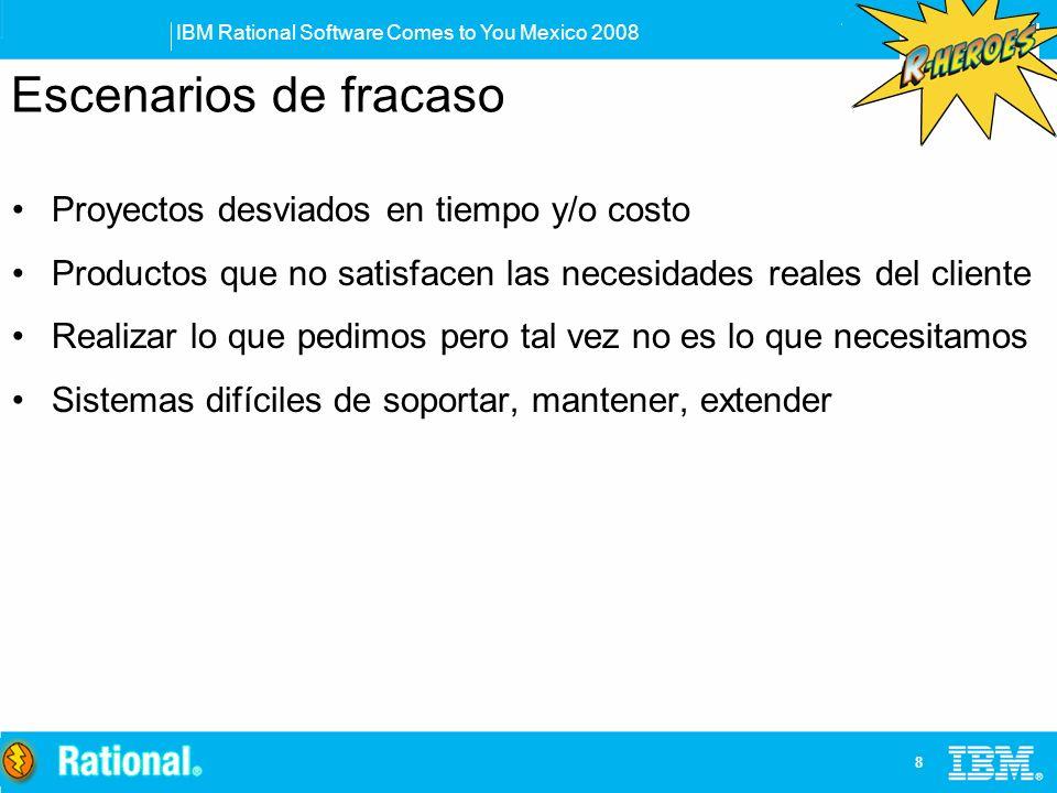 IBM Rational Software Comes to You Mexico 2008 8 Escenarios de fracaso Proyectos desviados en tiempo y/o costo Productos que no satisfacen las necesid