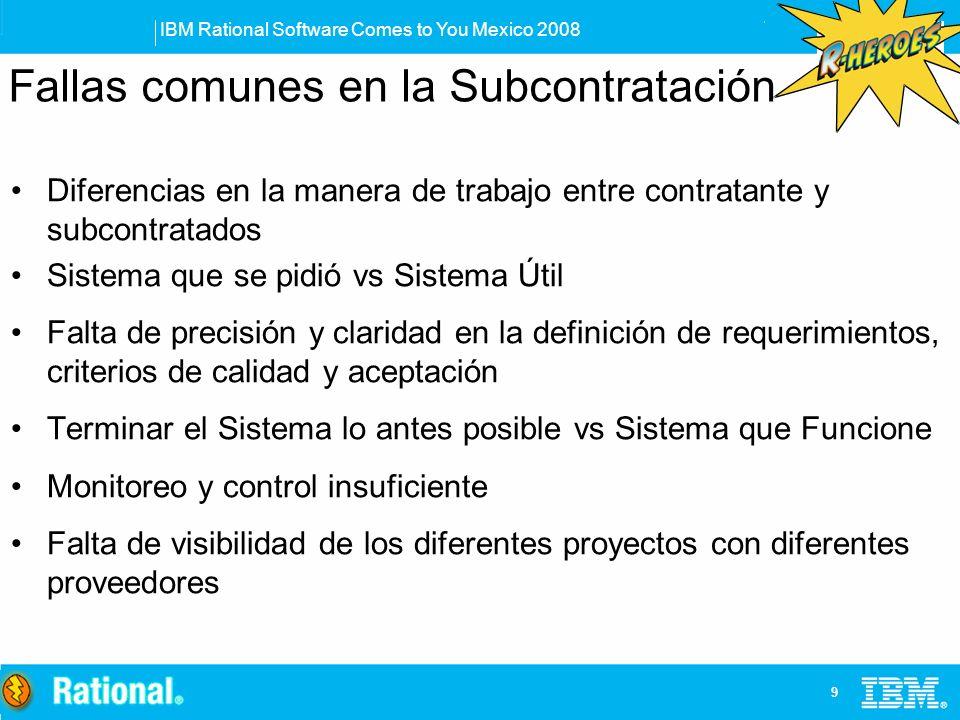 IBM Rational Software Comes to You Mexico 2008 9 Fallas comunes en la Subcontratación Diferencias en la manera de trabajo entre contratante y subcontr