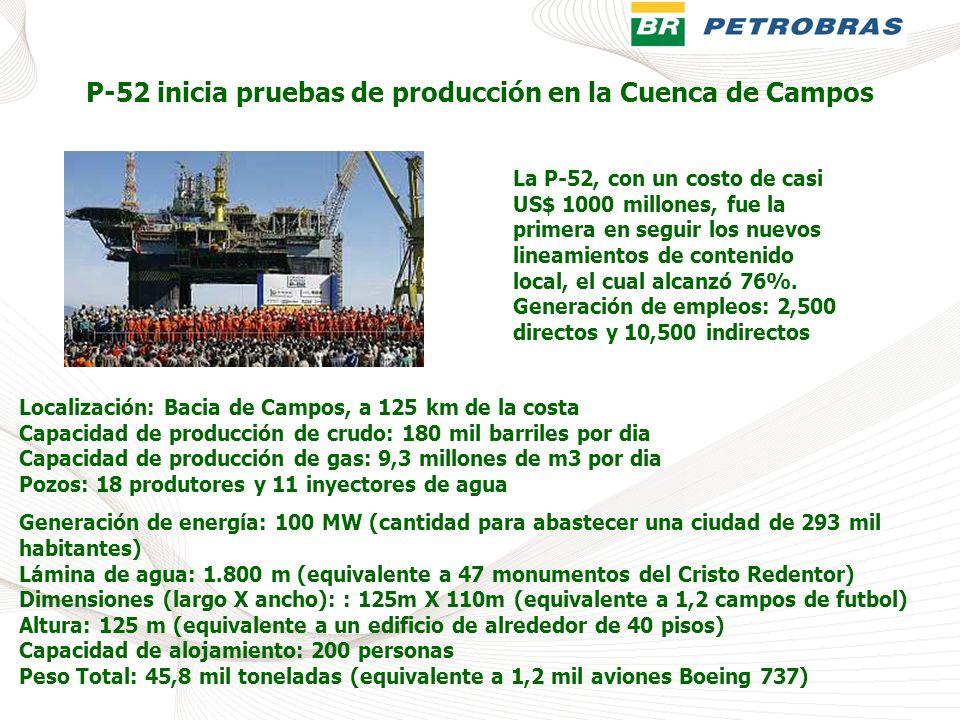 P-52 inicia pruebas de producción en la Cuenca de Campos Localización: Bacia de Campos, a 125 km de la costa Capacidad de producción de crudo: 180 mil