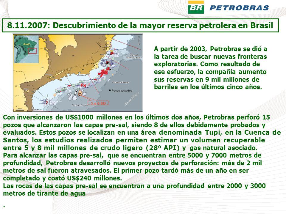 8.11.2007: Descubrimiento de la mayor reserva petrolera en Brasil A partir de 2003, Petrobras se dió a la tarea de buscar nuevas fronteras exploratori
