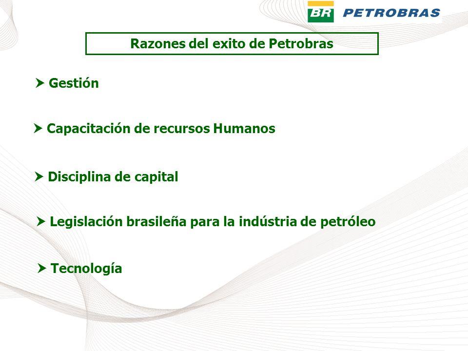 Razones del exito de Petrobras Gestión Capacitación de recursos Humanos Disciplina de capital Legislación brasileña para la indústria de petróleo Tecn