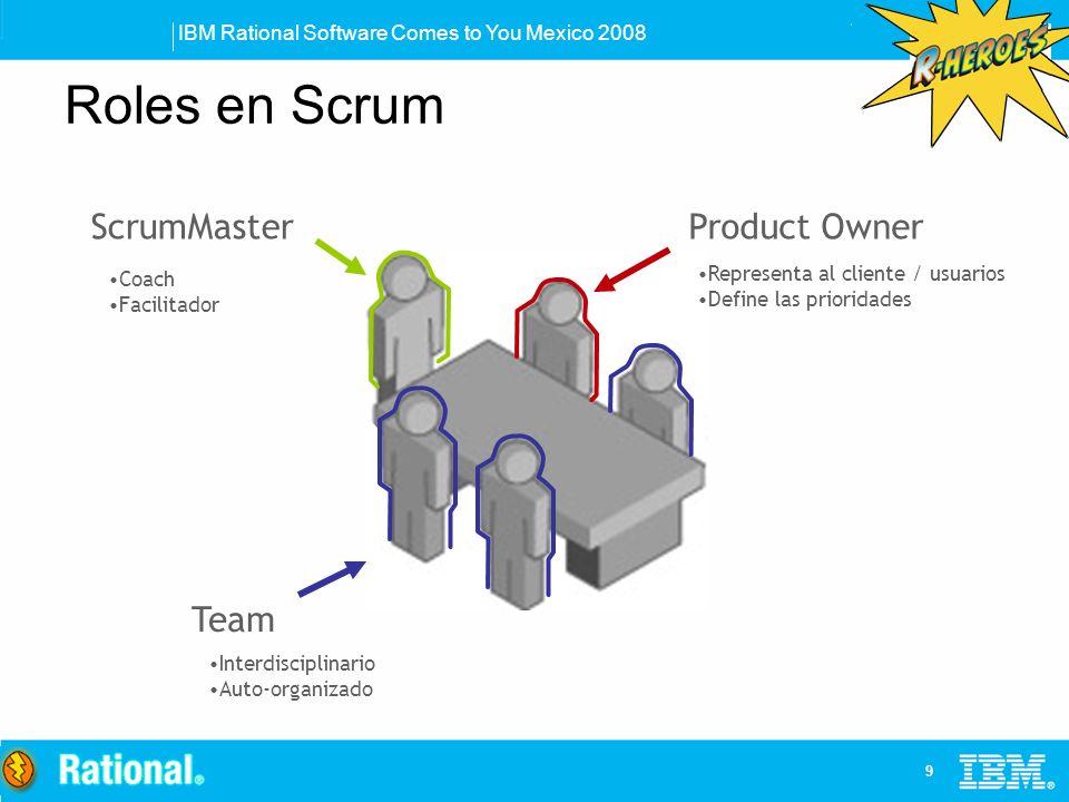 IBM Rational Software Comes to You Mexico 2008 10 Product Backlog Visión + ROI Product Backlog Requerimientos Mas beneficio Menos beneficio