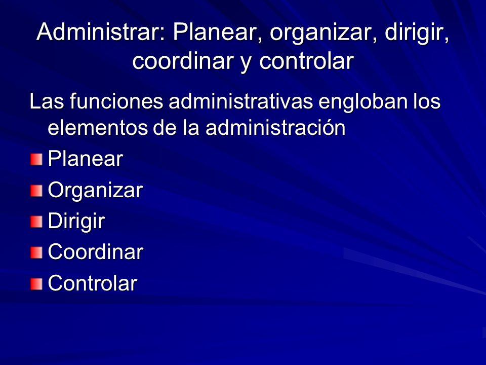 Administrar: Planear, organizar, dirigir, coordinar y controlar Las funciones administrativas engloban los elementos de la administración PlanearOrgan