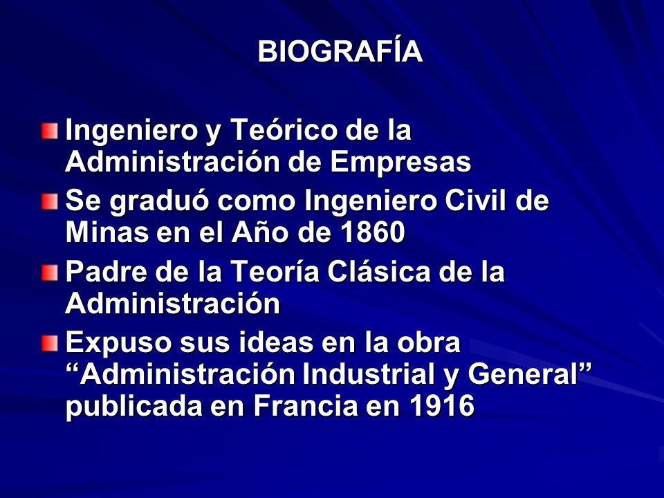 BIOGRAFÍA BIOGRAFÍA Ingeniero y Teórico de la Administración de Empresas Se graduó como Ingeniero Civil de Minas en el Año de 1860 Padre de la Teoría