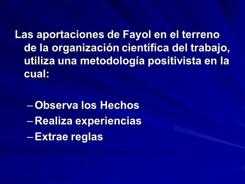 Las aportaciones de Fayol en el terreno de la organización científica del trabajo, utiliza una metodología positivista en la cual: –Observa los Hechos