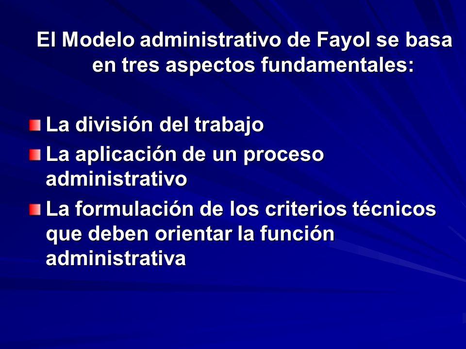 El Modelo administrativo de Fayol se basa en tres aspectos fundamentales: La división del trabajo La aplicación de un proceso administrativo La formul