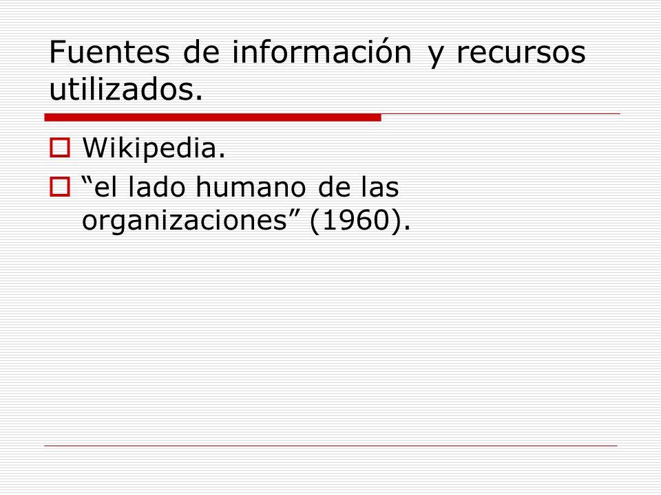 Fuentes de información y recursos utilizados. Wikipedia. el lado humano de las organizaciones (1960).