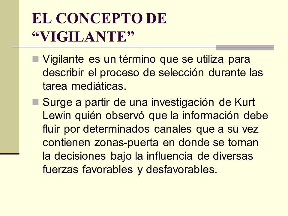 EL CONCEPTO DE VIGILANTE Vigilante es un término que se utiliza para describir el proceso de selección durante las tarea mediáticas. Surge a partir de