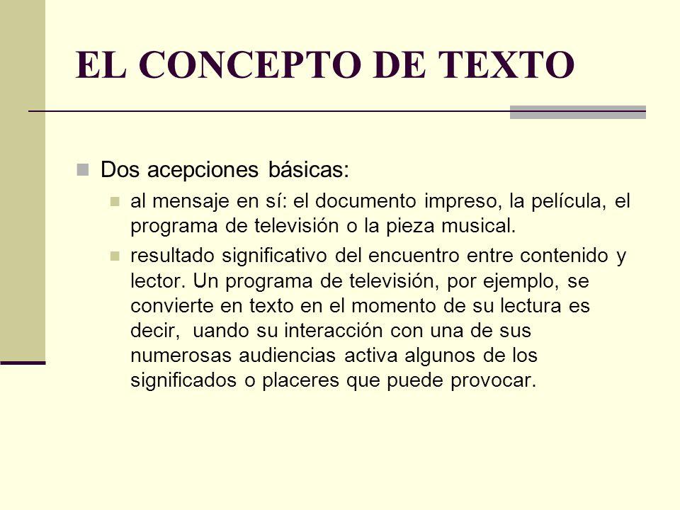 EL CONCEPTO DE TEXTO Dos acepciones básicas: al mensaje en sí: el documento impreso, la película, el programa de televisión o la pieza musical. result