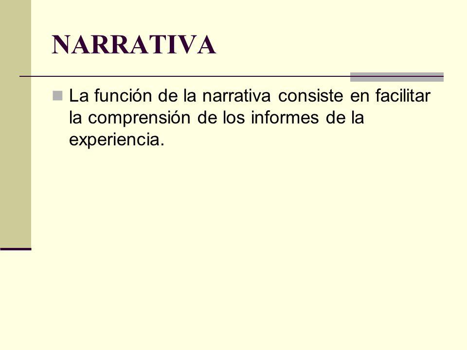 NARRATIVA La función de la narrativa consiste en facilitar la comprensión de los informes de la experiencia.