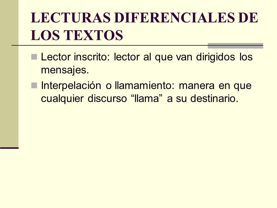LECTURAS DIFERENCIALES DE LOS TEXTOS Lector inscrito: lector al que van dirigidos los mensajes. Interpelación o llamamiento: manera en que cualquier d