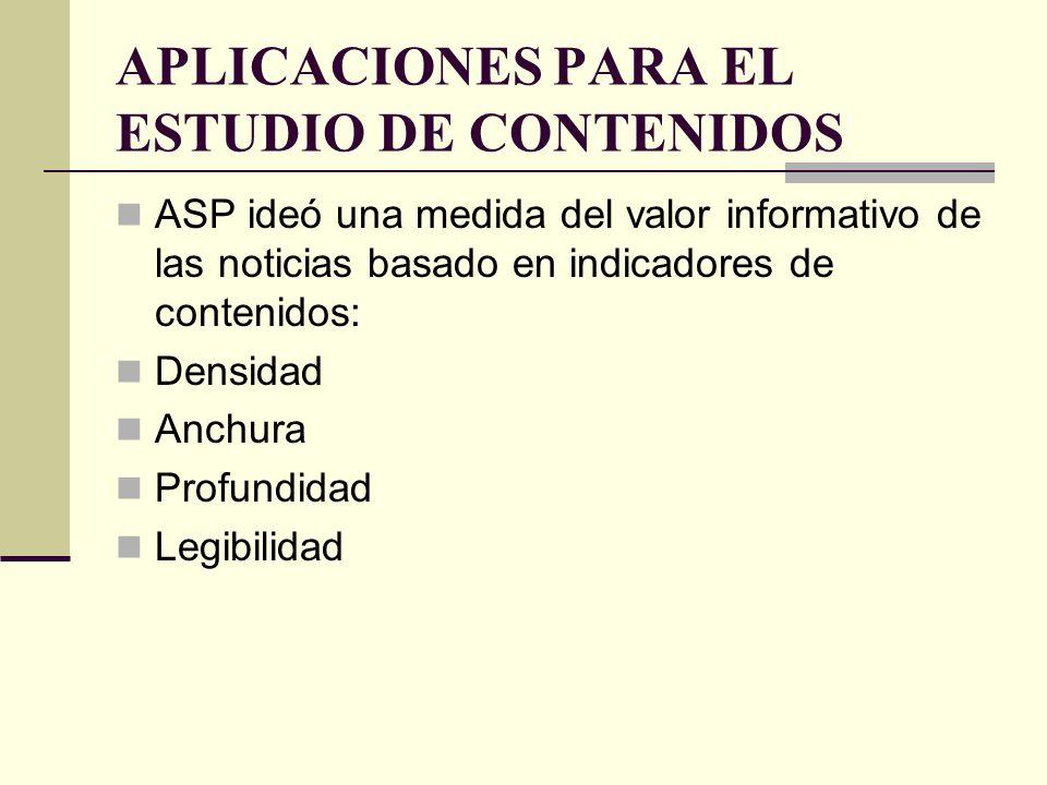 APLICACIONES PARA EL ESTUDIO DE CONTENIDOS ASP ideó una medida del valor informativo de las noticias basado en indicadores de contenidos: Densidad Anc