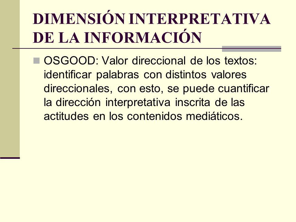 DIMENSIÓN INTERPRETATIVA DE LA INFORMACIÓN OSGOOD: Valor direccional de los textos: identificar palabras con distintos valores direccionales, con esto