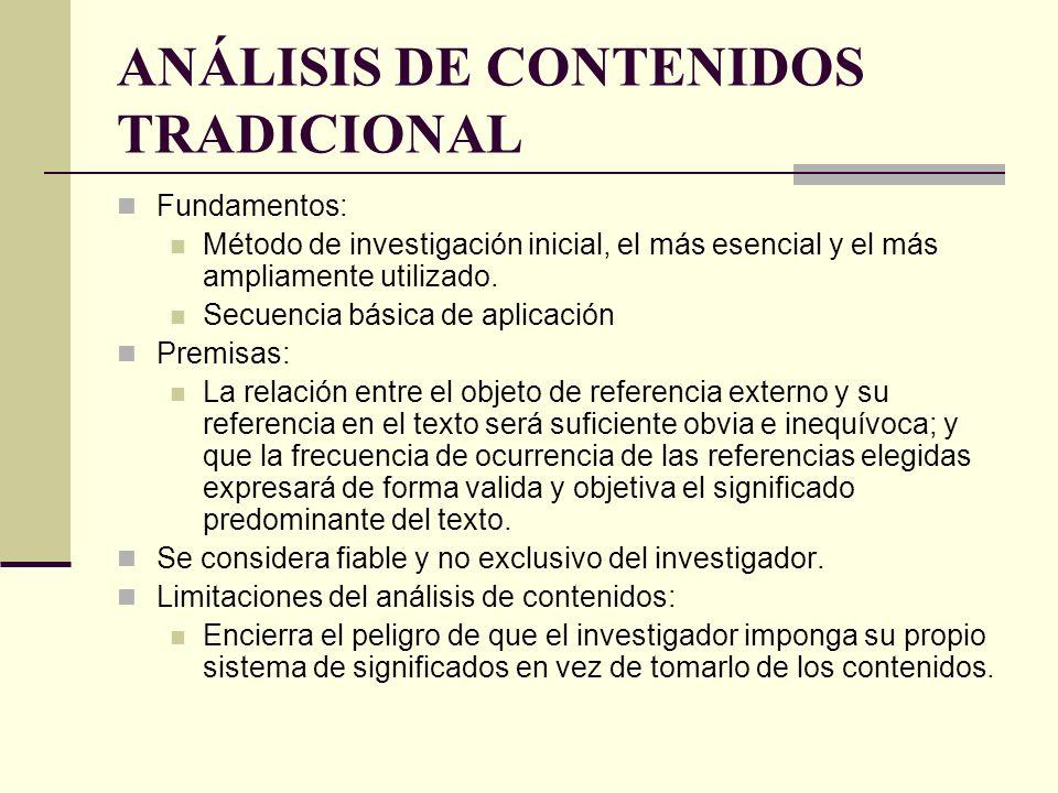 ANÁLISIS DE CONTENIDOS TRADICIONAL Fundamentos: Método de investigación inicial, el más esencial y el más ampliamente utilizado. Secuencia básica de a