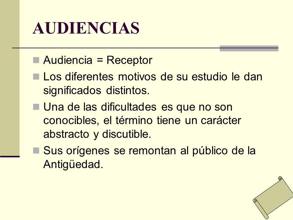 AUDIENCIAS Audiencia = Receptor Los diferentes motivos de su estudio le dan significados distintos. Una de las dificultades es que no son conocibles,