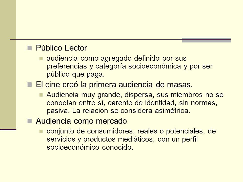 Público Lector audiencia como agregado definido por sus preferencias y categoría socioeconómica y por ser público que paga. El cine creó la primera au