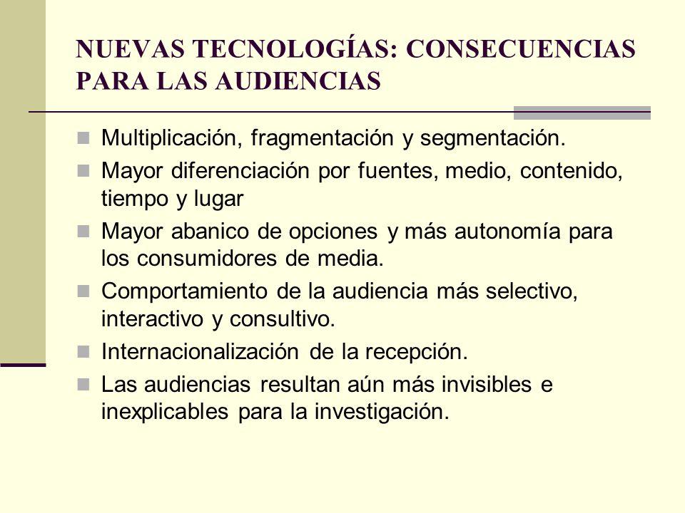 NUEVAS TECNOLOGÍAS: CONSECUENCIAS PARA LAS AUDIENCIAS Multiplicación, fragmentación y segmentación. Mayor diferenciación por fuentes, medio, contenido