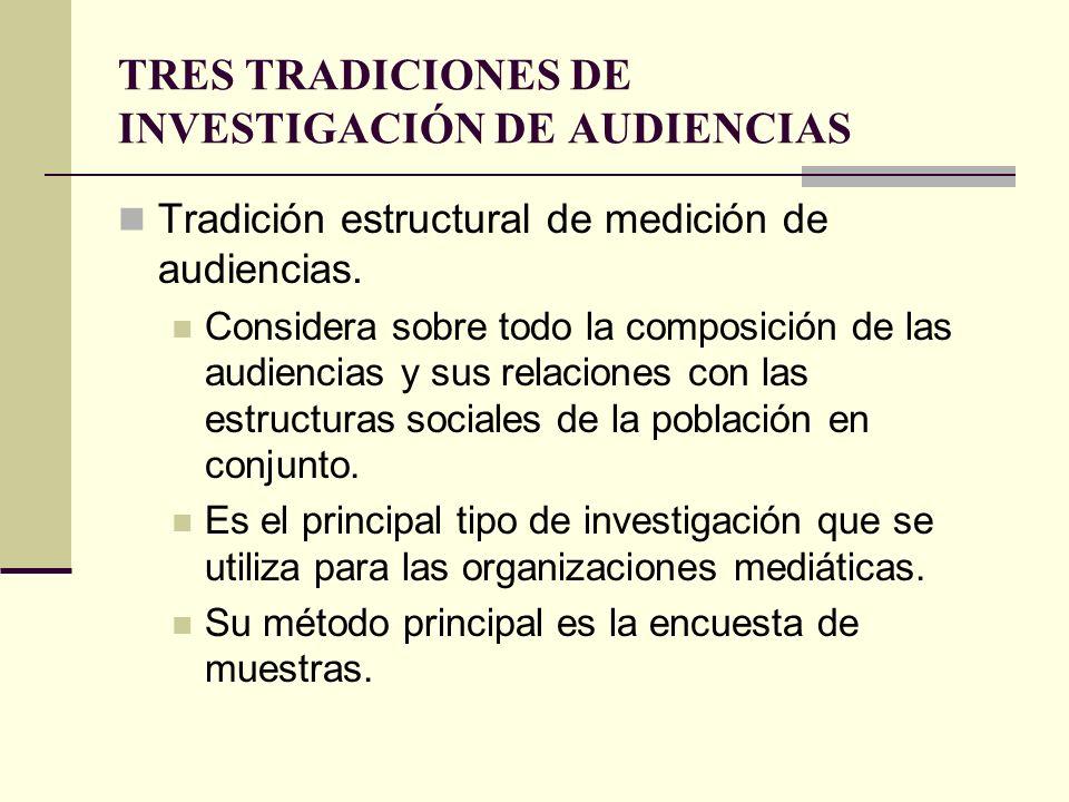 TRES TRADICIONES DE INVESTIGACIÓN DE AUDIENCIAS Tradición estructural de medición de audiencias. Considera sobre todo la composición de las audiencias