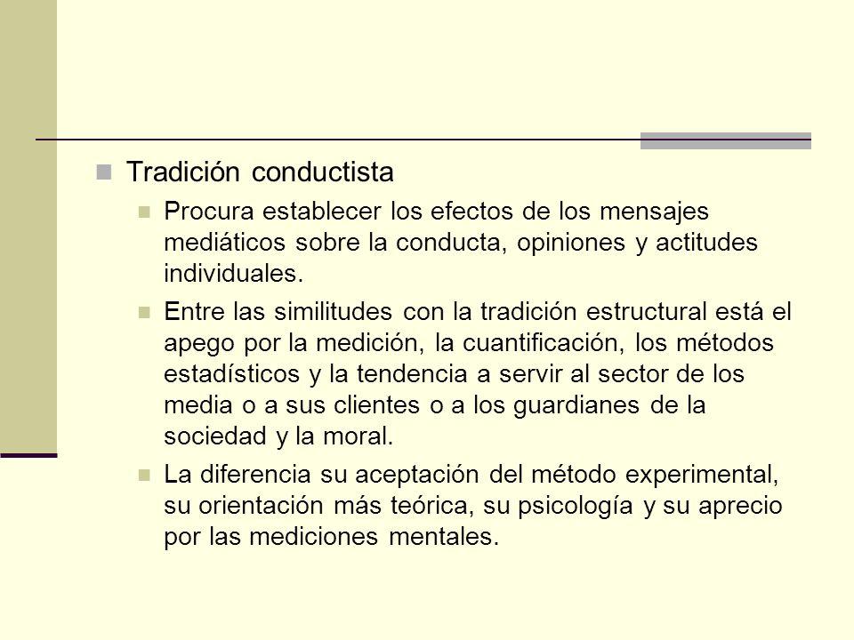 Tradición conductista Procura establecer los efectos de los mensajes mediáticos sobre la conducta, opiniones y actitudes individuales. Entre las simil