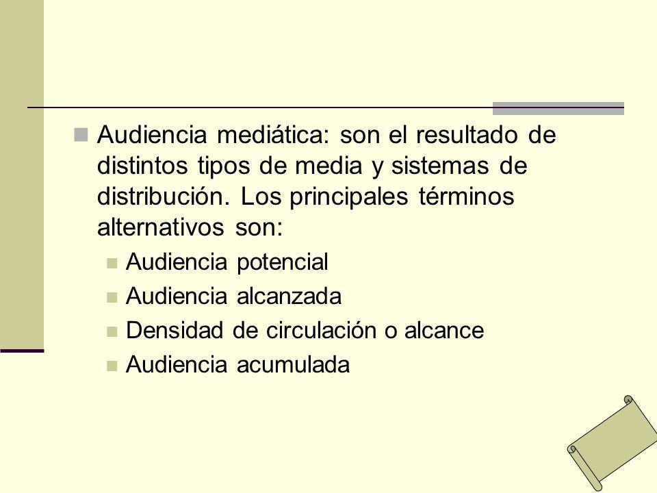Audiencia mediática: son el resultado de distintos tipos de media y sistemas de distribución. Los principales términos alternativos son: Audiencia pot