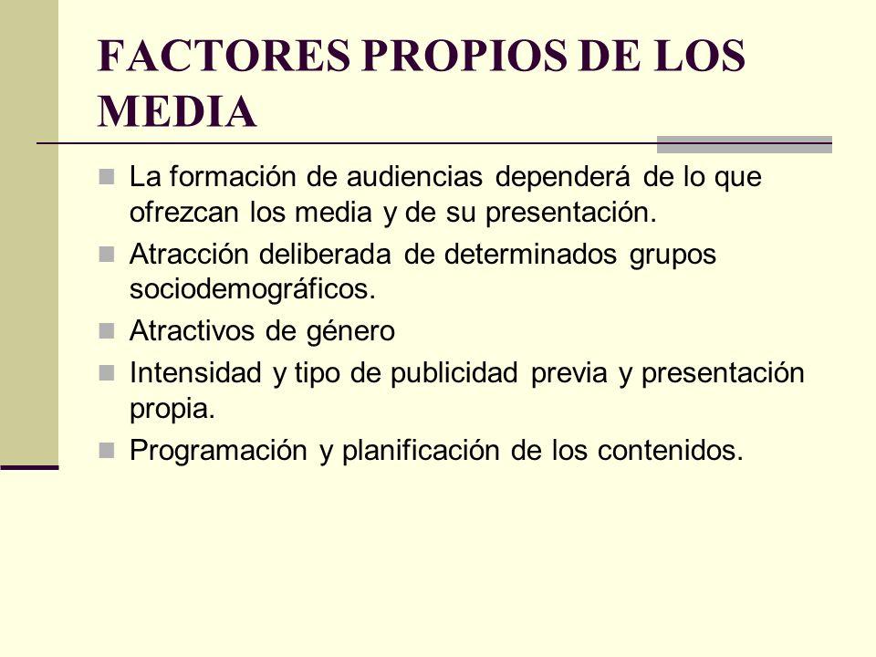FACTORES PROPIOS DE LOS MEDIA La formación de audiencias dependerá de lo que ofrezcan los media y de su presentación. Atracción deliberada de determin