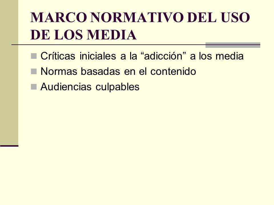 MARCO NORMATIVO DEL USO DE LOS MEDIA Críticas iniciales a la adicción a los media Normas basadas en el contenido Audiencias culpables